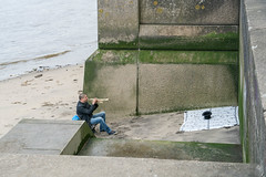 Ebb tide on the Thames (Ivan's page) Tags: busker london thames embankment trumpet hat collection