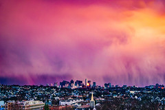 Raincloud Sunset Over Boston Skyline ((Jessica)) Tags: orange raincloud colorful buildings tufts bostonskyline tuftslibraryrooftop building clouds pw tuftsuniversity rain nubes pink tuftslibraryroof skyscrapers sun sunset newengland vista view rooftops dehaze tuftslibrary massachusetts sky boston lightroom smugmug