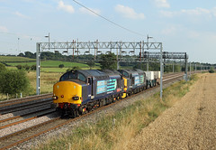 37610 & 37606, Stableford, 18 Aug 2016 (Mr Joseph Bloggs) Tags: railway railroad train treno bahn freight merci cargo flask drs nuclear bridgewater crewe coal sidings stableford norton bridge stafford 37610 37606 606 610 37
