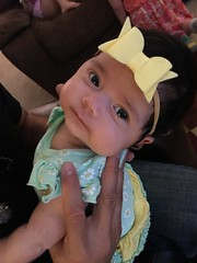 Pretty baby in a bow:) #grandbaby #Leia #yellow (tracysolomon) Tags: grandbaby leia yellow