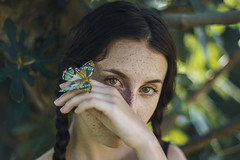 Hold me closer (Enrico Cavallarin) Tags: garden tree leaf butterfly hand face eyes browneyes portrait portraiture 50mm nikon freckles hair forest nature emotional sweetness closer