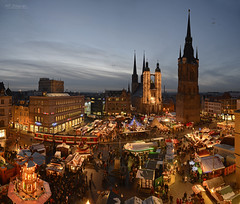 Panorama christmas market Halle/Saale 2012 (MR-Fotografie) Tags: christmas panorama tower ice church weihnachten nikon market weihnachtsmarkt microsoft nikkor turm ret 2012 roter marktkirche hallesaale d600 2485mm mrfotografie