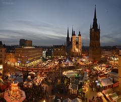 Panorama christmas market Halle/Saale 2012 (MR-Fotografie) Tags: christmas panorama tower ice church weihnachten nikon market weihnachtsmarkt microsoft nikkor turm ret 2012 roter marktkirche hallesaale d600 2485mm mrfotografie