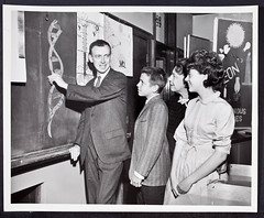 James D. Watson drawing a double helix at Horace Mann School, 1962. (CSHL Archives) Tags: dna chicagoil cshl horacemannschool jamesdwatson