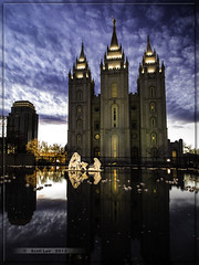 12/12/12 (Just Used Pixels) Tags: christmas sky reflection clouds temple lights utah saltlakecity lds nativity