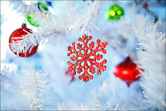 Vesel Vnoce (i ea sars) Tags: snowflake christmas blue trees winter light red white holiday snow cold detail macro tree home nature glass weather sparkles pinetree glitter canon festive arbol snowflakes eos lights mirror design holidays shiny december arboles dof seasons bokeh snowy pastel background interior branches hiver nieve 28mm natur decoration style blurred christmastree christmaslights depthoffield single invierno shallow f18 18 decor sparkly glittery zima frio stringlights whitetree  canoneos5d snih canonef28mmf18usm ef28mmf18usm dekorace canoneos5dmarkiii 5dmkiii 5dmk3 5d3 5dmarkiii