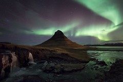 Kirkjufell and Falls Aurora (Philip Eaglesfield (Eggles)) Tags: mountain ice frozen iceland aurora kirkjufell northernlights auroraborealis snfellsnes grundarfjrur breiafjrur zeiss15mm kirkjufellfoss