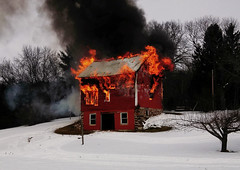 There she goes (ohpapercut) Tags: trees winter red white snow black wisconsin barn forest fire farm smoke flame    granery ohpapercut