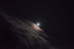 Peeking around the clouds. (Dan:Brown) Tags: moon night lr4 d7000