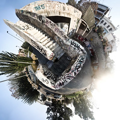 I'm such a freak. I make a planet out of everything. (amfipolos) Tags: city stairs photoshop graffiti downtown 360 athens stairway greece sonycybershot pedestriancrossing polarcoordinates littleplanet polarpanorama stereographicprojection pixelbender