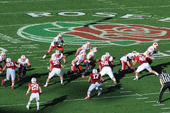 Wisconsin rushes for yardage early in the first half of the 2013 Rose Bowl football game between the University of Wisconsin-Madison Badgers and the Stanford University Cardinal at the Rose Bowl Stadium in Pasadena, Calif., on Jan. 1, 2013. (Photo by Jeff