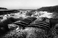 Old Railway Wagons in the Dunes, Uphill, Weston-super-Mare, Somerset (Pictures from the Ghost Garden) Tags: blackandwhite bw film monochrome 35mm mono coast blackwhite seaside somerset hp5 uphill ilford westonsupermare blancetnoir