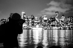 Just Me Doing My Thing...Again! (-gunjan) Tags: blackandwhite bw canada me monochrome silhouette skyline vancouver cityscape bc britishcolumbia stanleypark vancouverskyline gmphotography