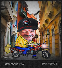 BMW G650GS (Peter Solano. Pursuing a dream!) Tags: city blue red yellow self fun cartoon cap bmw motorrad bmwg650cs