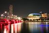 Esplanade Drive (Nomadic-Imagery) Tags: city longexposure bridge light red water architecture buildings lights singapore cityscape skyscrapers esplanade highrise refelction esplanadebridge canoneos50d canon1022mmlens esplanademall