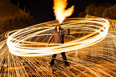 Fire Dancer (Kyle Sallee) Tags: lightpainting night fire spinning firebreather firedancer steelwool