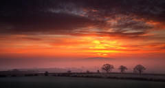 Wrekin Red Delight (Natasha Bridges) Tags: morning winter red sky mist clouds sunrise countryside shropshire fields wrekin
