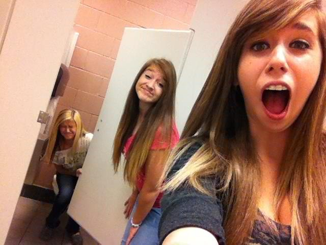 Taylor & Cassie (martinezjenna) Tags: girls friends goofy hair skinny  bathroom funny