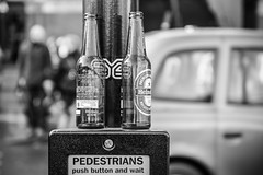 Two Green Bottles (Sean Batten) Tags: street city england urban blackandwhite bw london nikon bottles unitedkingdom kingscross stpancras d600 2470