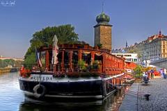 Matylda of Praha (AreKev) Tags: building river restaurant hotel boat europe prague watertower praha czechrepublic bohemia vltava europeanunion botel matylda mánes sonydschx20v
