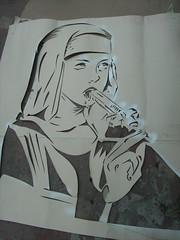 LA MONJA CHUPADORA (Assi-one) Tags: stencil graf nun tetas pochoir culos schablonen callejero clitoris gallito onja chupadora mamadora assione