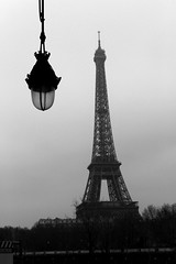 Paris up and down (ido1) Tags: bridge winter bw paris cold lamp up dark blackwhite streetlamp down eiffel toureiffel 1dx
