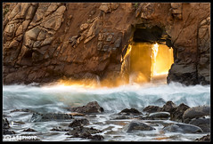 Molten Water (Aaron M Photo) Tags: ocean california statepark park sunset sea seascape beach nature landscape big nikon arch unitedstates state bigsur arches beam sur keyhole pfeiffer pfeifferbeach d800 lightbeam 2013 keyholearch lightstar nikond800