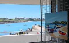 Exibition of paintings and the Portsall quay - Anne Salan (patrick_milan) Tags: blue sea mer france water port boat brittany eau ship harbour bretagne bleu finistere portsall