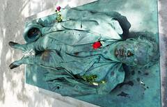 Victor Noir's sculpted, verdigris metal body, multiple parts polished by the hands of his many visitors (Monceau) Tags: victornoir sculpture gisant grave verdigris shiny parts fertilitysymbol remarkable julesdalou sculptor