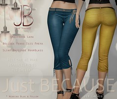 Just BECAUSE - Jen Capris - At N21! (Just BECAUSE_SL) Tags: life capri beads belt pants mesh butt sl just event booty secondlife bow short slacks second string jb tied hud because belleza capris fitted maitreya slink n21
