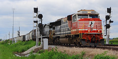 NS 9-1-1 pulling in at Abel (HighHor$epower) Tags: ns911 nsd01 abel sd60e honoringfirstresponders specialpaintscheme searchlightsignals railroadsignals
