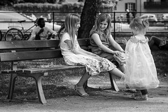 Encounter with a fairy... (Periades) Tags: bw blackandwhite blackwhite blanc candid child enfant fille girlfriends copines human nb noiretblanc photoderue rue streetphotography street streethuman smile sourire