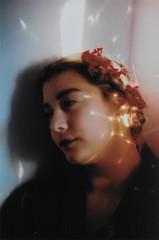 (merra marie) Tags: flowers portrait girl retrato rainbow arcoiris flores film 35mm analogue
