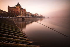 Foggy morning (Grumpysumpy) Tags: architecture city dawn europe fog leicam 21mmsuperelmar movingwater morning prague czechrepublic rangefinder river longexposure sunrise travel water leebigstopper