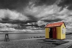 Lifeguard shed in Whitstable (andythekeys) Tags: ocean dramatic clouds england kent whitstable sea seaside beach shed lifeguard