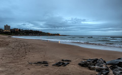 Sodden (JustAddVignette) Tags: australia beach clouds cloudysunrise early firstlight freshwaterbeach landscapes morning newsouthwales nosun northernbeaches ocean overcast rain rocks seascape seawater sky sydney water