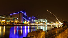 Dublin City at Night. Took a drive and a stroll around the City last night. Was nice and peaceful. (Dubspotter2015) Tags: cityscapes dublin building longexposure nightphotography nightscape colours riverliffey ireland docklands beautiful night skyline architecture outdoor bridge