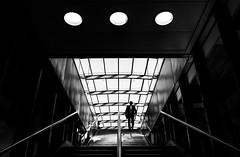 three.. (/ Georg /) Tags: london airport stair subway commute humaningeometry urban street bw black white mono light contrast pattern three graphic lines