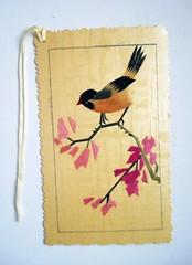 Chinese bookmark 1 (tengds) Tags: bookmark chinese chinesebookmark bamboo bird branches flowers yellow pink fuchsia brown handmade papercraft tengds