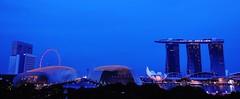 iconic structures of Singapore (SM Tham) Tags: asia singapore marinabay skyline architecture buildings singaporeflyer esplanadetheatresonthebay marinabaysands artsciencemuseum water light reflections bluehour panorama trees silhouettes