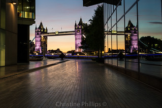 A classic, reflections of Tower Bridge at sunrise