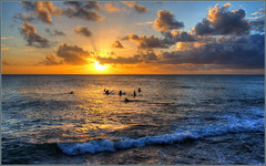 Sunset Session (tdlucas5000) Tags: sunset surf oahu hawaii hdr photomatix clouds silhouette turtlebay ocean seascape