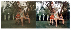 Before After Retouching 7005 (Brechtbug) Tags: life family portrait white holiday color liz tree green 1969 me wearing photoshop bench mom toy polaroid toys photo costume backyard branch with image action shaped sister kate or stripe super before images headshot superman pa photograph captain donut hero figure lancaster after fixing polaroids 1960s 1968 ideal swimsuit sporting seated retouching superboy retouched 1960 clinging combinations expanded