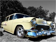 As cream (tonywheels) Tags: show chevrolet 1955 car wagon break cream voiture chevy chrome sw nomad 55 carshow crme amricaine uscar