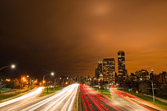A Moment Ago (Bryan Jaronik) Tags: street city longexposure sky urban chicago architecture night clouds photoshop buildings dawn lights movement lowlight nikon colorful downtown cityscape dusk lakeshoredrive il slowshutter lighttrails johnhancock d800 vividcolors chicagoil windycity movingclouds nikond800 bryanjaronik