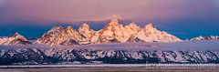 Teton Sunrise Panorama (Free Roaming Photography) Tags: morning winter light panorama usa cloud mountain snow mountains cold west fog clouds sunrise dawn nationalpark cloudy foggy peak panoramic western northamerica wyoming peaks teton tetons grandteton jacksonhole grandtetonnationalpark teewinot antelopeflats tetonglacier
