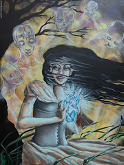 The Ghosts of Princess Coldheart (onibatsu.com) Tags: acrylic windy spray mystical ghosts spraypaint acrylicpainting foley oni coldheart heartofglass flowinghair iceheart michaelfoley onibatsu princesscoldheart fantasypainting