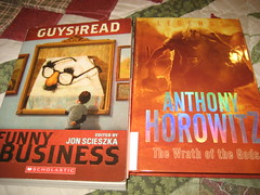 2012-357 Reading Material (mrsdkrebs) Tags: reading books funnybusiness jonscieszka anthonyhorowitz thewrathofthegods