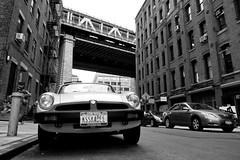 MGNY (Airicsson) Tags: street new york old city nyc bridge summer urban blackandwhite bw usa white ny black car island lumix us walk manhattan dumbo panasonic mg 2010 streetshot lx3