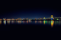 Tokyo Night Skyline (chibitomu) Tags: city bridge sea building water japan skyline night canon reflections eos lights tokyo waterfront   odaiba    canonef1740f4lusm 5dmarkii chibitomu